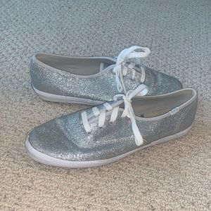 Women's silver glitter Keds size 7